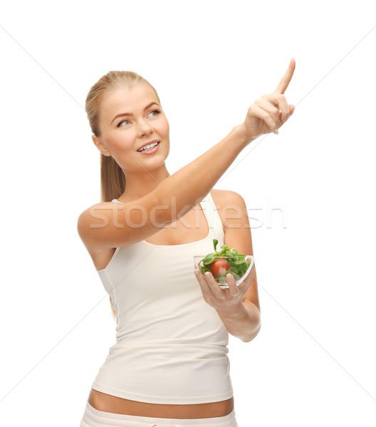 здорового женщину чаши Салат указывая Сток-фото © dolgachov