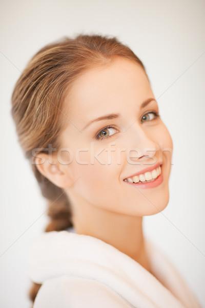 красивая женщина халат женщину лице здоровья Сток-фото © dolgachov