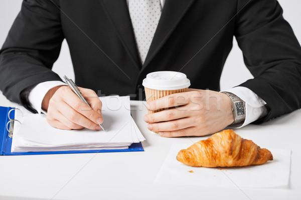Photo stock: Affaires · café · écrit · quelque · chose · pause · café
