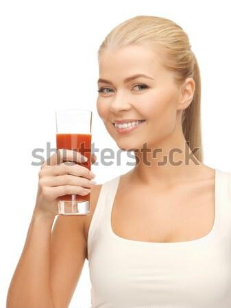 Gülümseyen kadın işaret beyaz boş kart resim kadın Stok fotoğraf © dolgachov