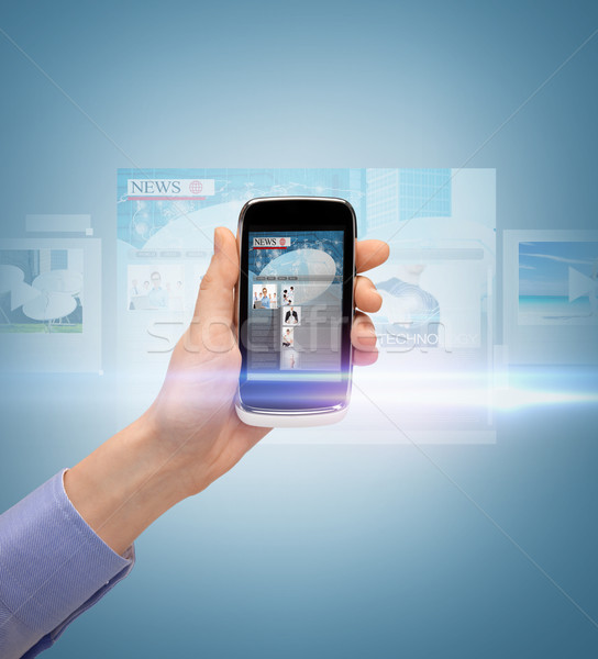 Hand tonen smartphone nieuws app business Stockfoto © dolgachov