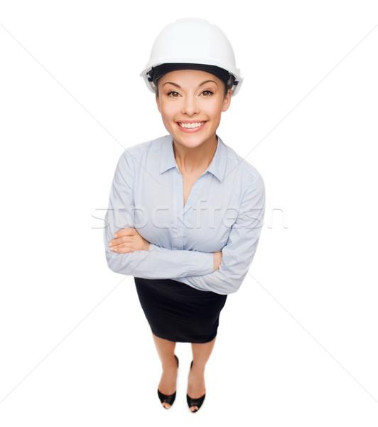Photo stock: Femme · d'affaires · blanche · casque · bâtiment · développement · architecture