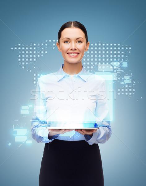 üzletasszony táblagép világ hologram üzlet technológia Stock fotó © dolgachov