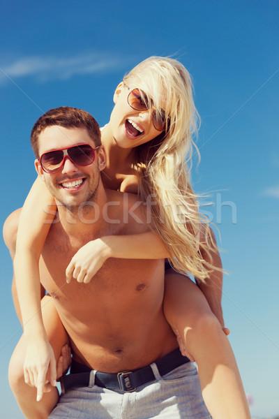 Stockfoto: Paar · strand · foto · gelukkig · vrouw