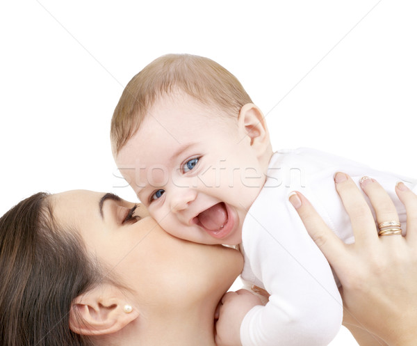 Foto stock: Risonho · bebê · jogar · mãe · família · criança
