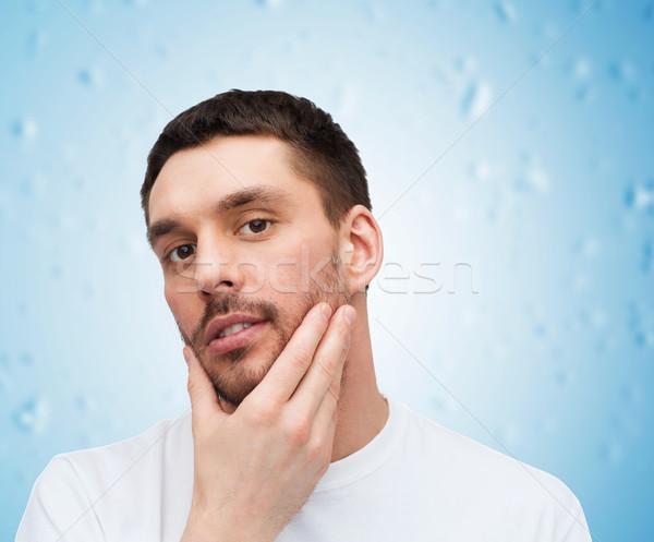 красивой человека прикасаться лице здоровья Сток-фото © dolgachov