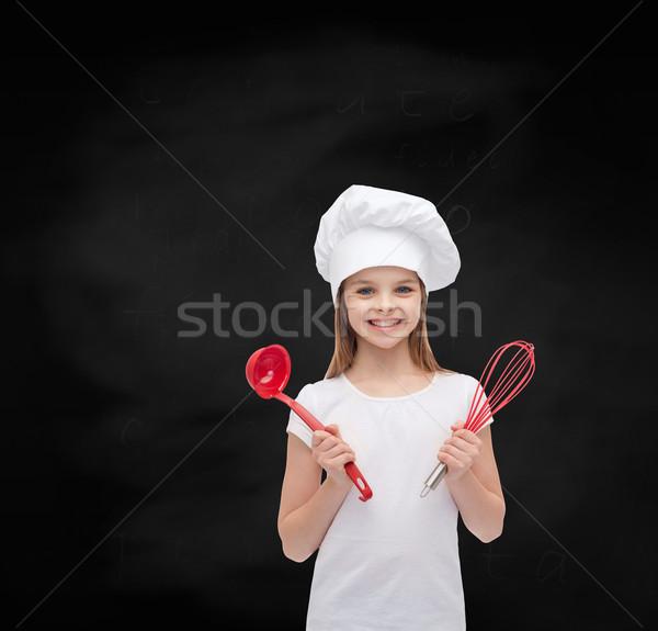 Stock fotó: Mosolyog · lány · szakács · kalap · merőkanál · habaró