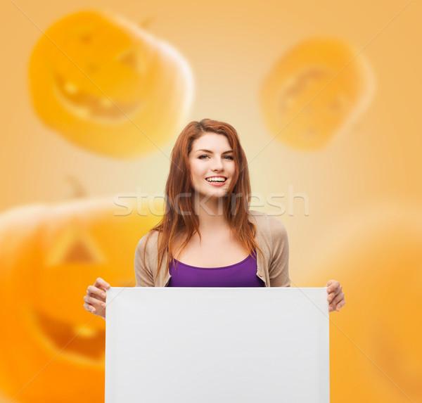 笑みを浮かべて 十代の ホワイトボード 広告 教育 休日 ストックフォト © dolgachov