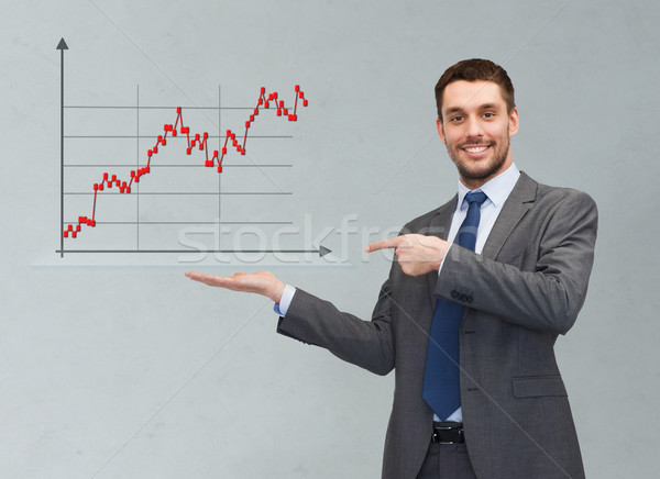 happy man showing forex chart on palm of his hand Stock photo © dolgachov
