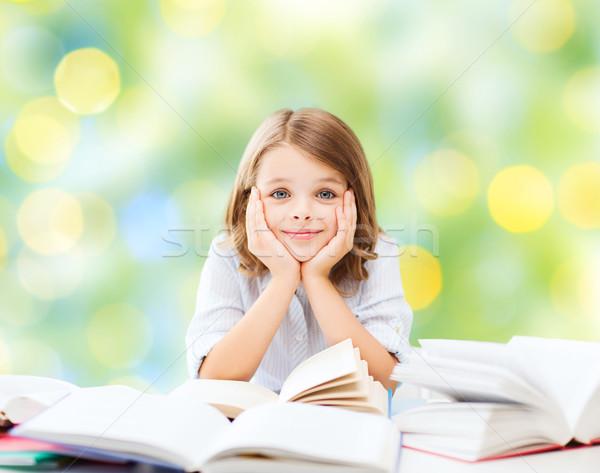 Stock fotó: Boldog · diák · lány · könyvek · iskola · oktatás