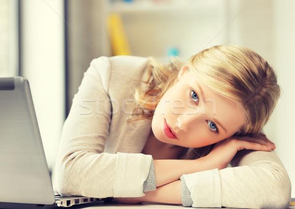 ストックフォト: 退屈 · 疲れ · 女性 · 後ろ · 表