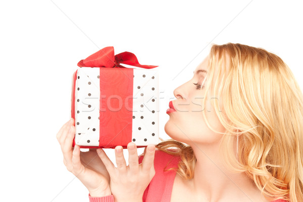 ストックフォト: 幸せ · 女性 · ギフトボックス · 白 · 笑顔 · 歳の誕生日