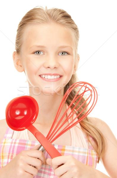 Stock fotó: Kicsi · háziasszony · piros · merőkanál · kép · lány