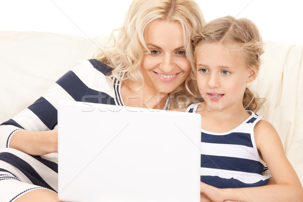 Stock photo: happy mother and child with laptop computer