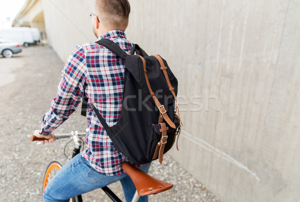 Stock photo: hipster man with fixed gear bike and backpack