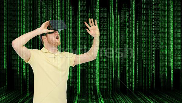 Moço virtual realidade fone óculos 3d 3D Foto stock © dolgachov