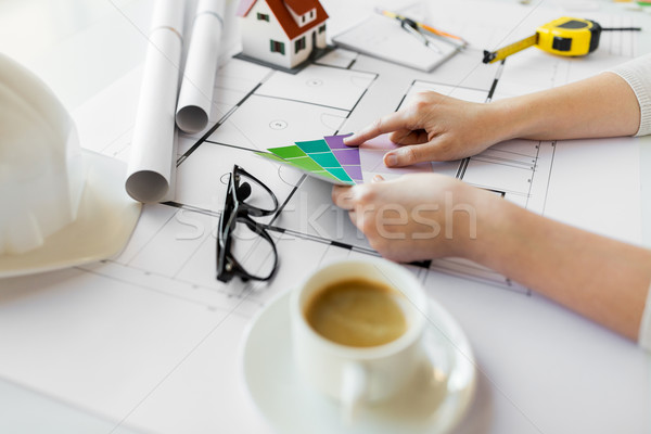 close up of hands with color palette and blueprint Stock photo © dolgachov