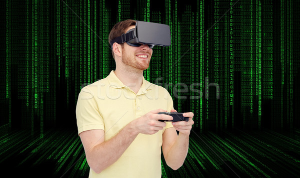 счастливым человека виртуальный реальность гарнитура геймпад Сток-фото © dolgachov