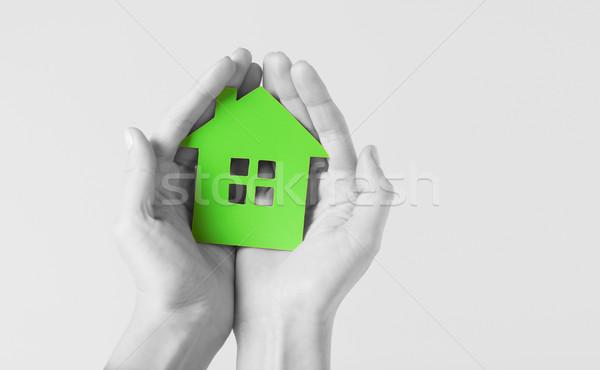 Manos verde papel casa inmobiliario Foto stock © dolgachov