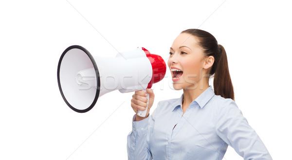 кричали деловая женщина мегафон бизнеса связи служба Сток-фото © dolgachov