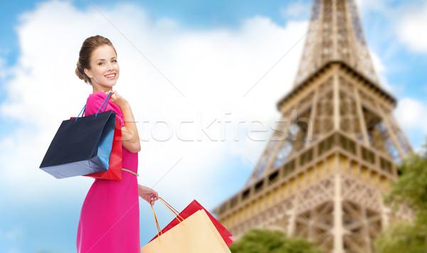 女性 ショッピングバッグ パリ エッフェル塔 人 休日 ストックフォト © dolgachov