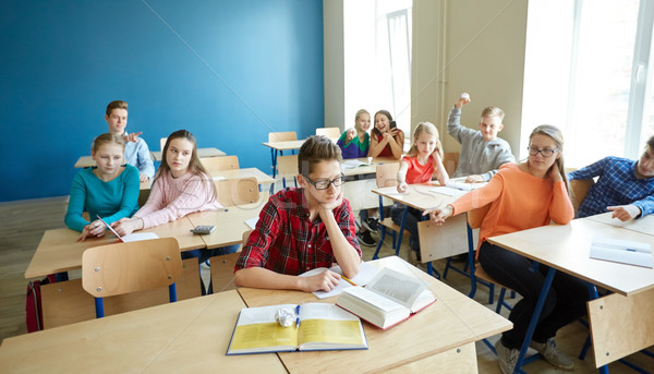 classmates laughing at student boy in school Stock photo © dolgachov