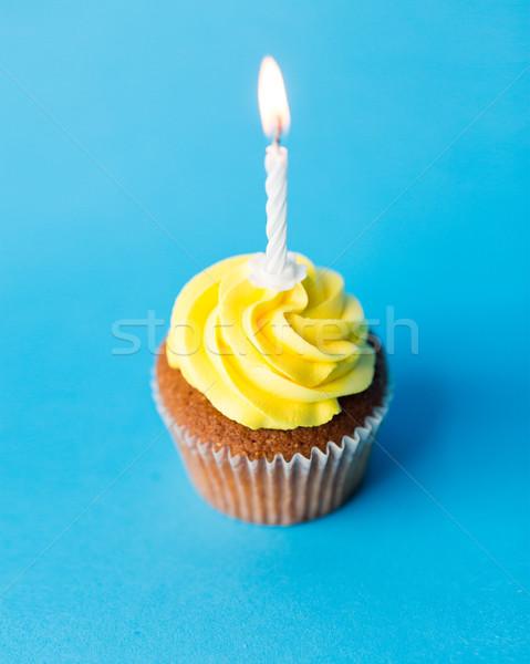 Verjaardag een brandend kaars vakantie Stockfoto © dolgachov