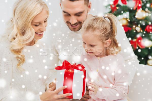 Gelukkig gezin home christmas geschenkdoos familie vakantie Stockfoto © dolgachov