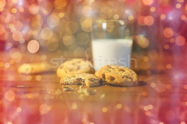 Photo stock: Cookies · lait · Noël · lumières · vacances
