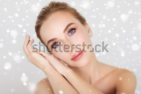 Belo mulher jovem cara mãos luzes beleza Foto stock © dolgachov