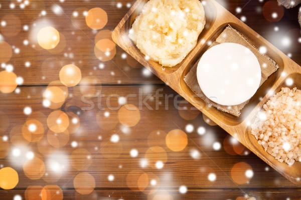 soap, himalayan salt and body scrub Stock photo © dolgachov