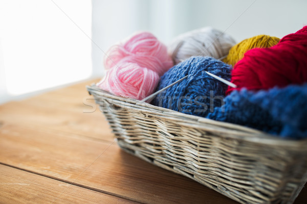 basket with knitting needles and balls of yarn Stock photo © dolgachov