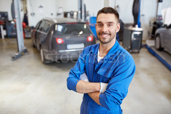 Glücklich Automechaniker Mann Auto Workshop Service Stock foto © dolgachov