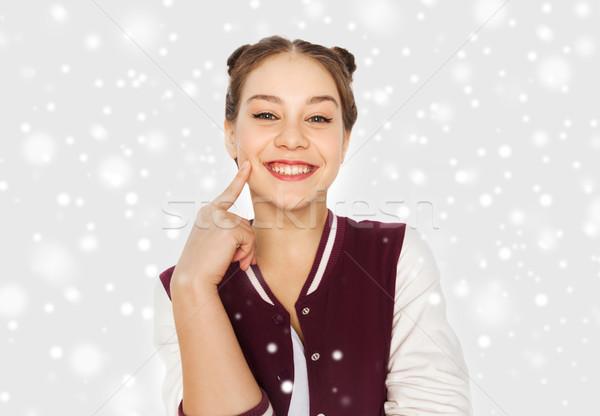 Boldog mosolyog csinos tinilány tél karácsony Stock fotó © dolgachov
