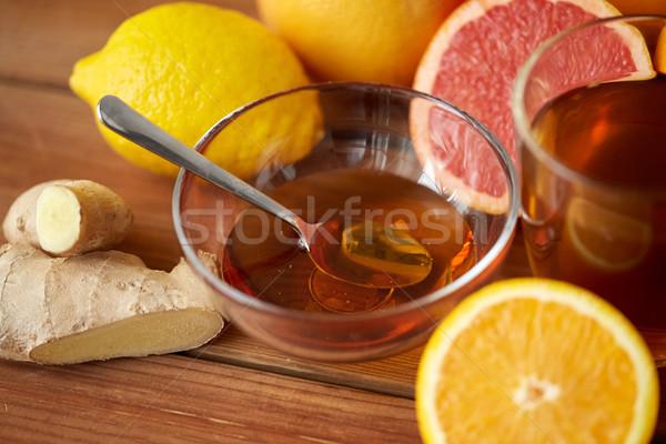 чай меда лимона имбирь древесины здоровья Сток-фото © dolgachov