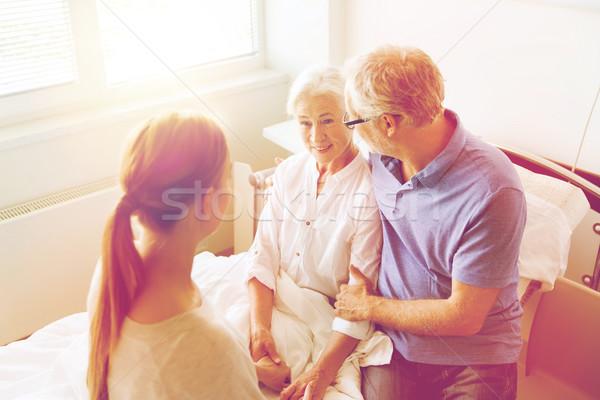 Photo stock: Famille · heureuse · supérieurs · femme · hôpital · médecine · soutien