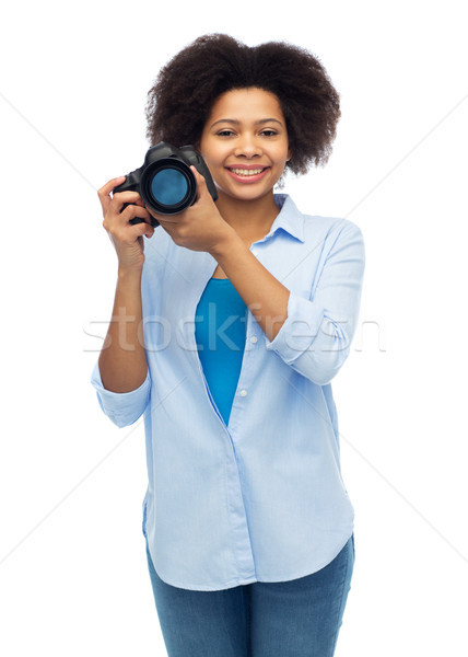 Gelukkig afro amerikaanse vrouw digitale camera mensen Stockfoto © dolgachov