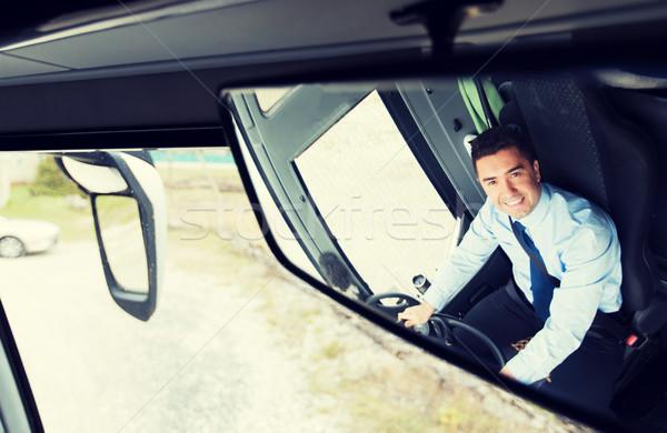 Sürücü yansıma otobüs ayna taşıma Stok fotoğraf © dolgachov