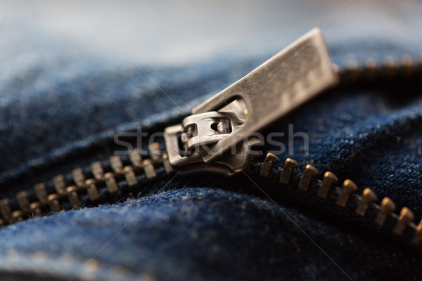 Denim item jeans rits kleding Stockfoto © dolgachov