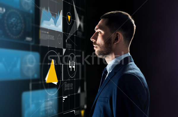 businessman in suit looking at virtual projection Stock photo © dolgachov