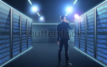 Empresario servidor habitación gente de negocios tecnología traje Foto stock © dolgachov