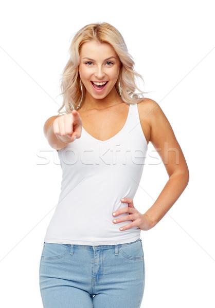 Stock fotó: Boldog · mosolyog · fiatal · nő · szőke · haj · hajviselet · divat