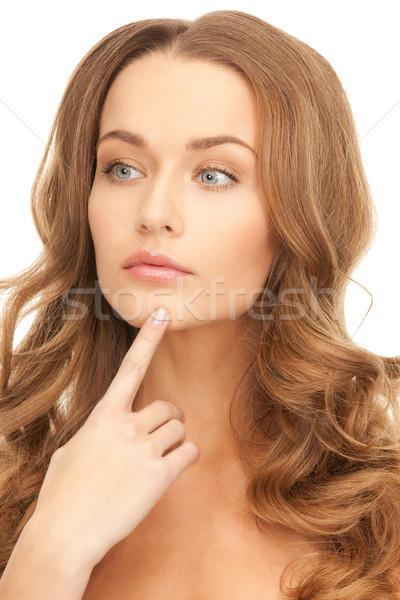 Foto stock: Mulher · brilhante · quadro · branco · cara · cabelo