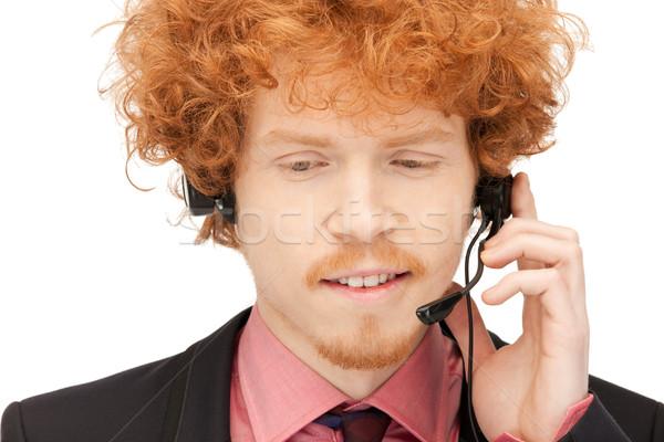 Línea de ayuda brillante Foto amistoso masculina operador Foto stock © dolgachov