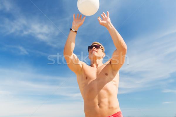 Foto stock: Moço · bola · jogar · voleibol · praia · verão