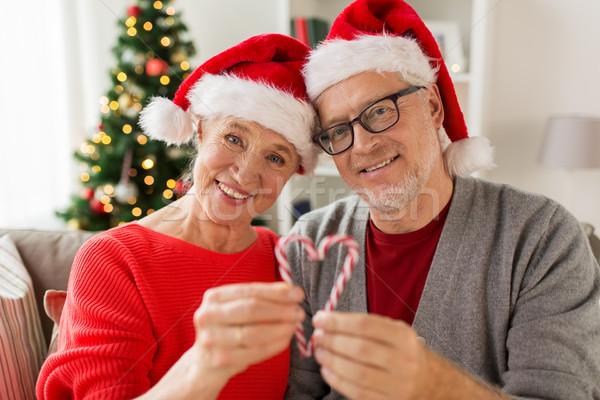 Stock fotó: Közelkép · boldog · idős · pár · karácsony · ünnepek · emberek