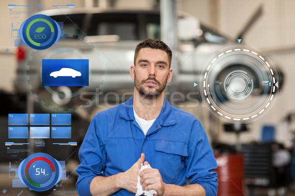 Mecânico de automóveis homem carro oficina serviço reparar Foto stock © dolgachov