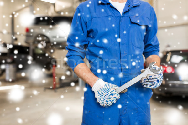 Stock photo: auto mechanic or smith with wrench at car workshop