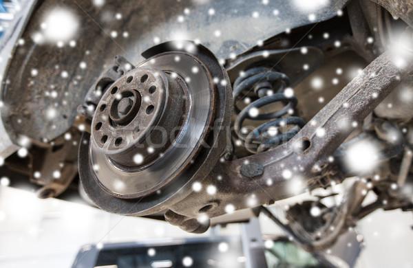 car brake disc at repair station Stock photo © dolgachov