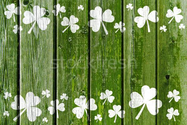 Shamrock minta öreg zöld fából készült nap Stock fotó © dolgachov